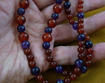 20 inch long round orange red Carnelian + Purple Amethyst gemstone bead beaded Necklace jewelry V322-8