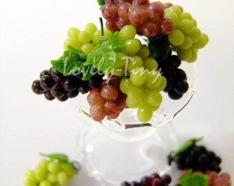 Dollhouse miniature Fruit:24 pieces (bunches) of Grapes, 8 Green, 8red and 8 black Grape, Free shipping cost