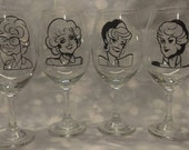 Golden Girls Wine Glasses Set of 4