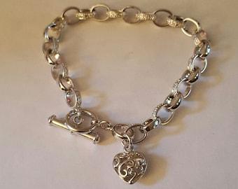 """Vintage Sterling Silver Link Heart Bracelet by Jacmel """"JCM"""" ~ Susan G Komen Foundation"""