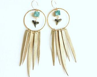 Turquoise Mermaid Dreamcatcher Earrings