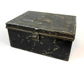 Vintage Metal Lock Box In Black with Hinged Latch for Padlock. Circa 1930's.