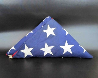 "Vintage 1970's Embroidered 50 Star US Flag. Made by Valley Forge Flag Co. 111"" x 58"""