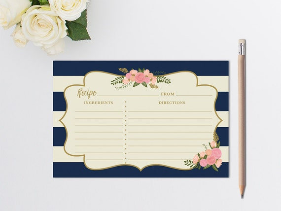 PRINTABLE Recipe Cards // Wedding Recipe Cards // Wedding Guest Book ...