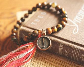 Tiger's Eye Beaded Bracelet with Tassel and Typewriter Key Charm// boho jewelry - bohemian - healing crystal - antique - spiritual