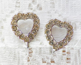 Vintage Clear Rhinestone Heart Shaped Screw Back Earrings, Silver Tone Metal, Hearts, Rhinestones, Love, Bride / Bridal