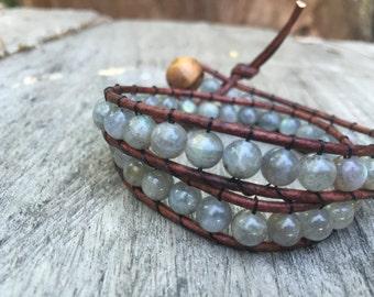 Labradorite 2x Hand Woven Leather Wrap Bracelet