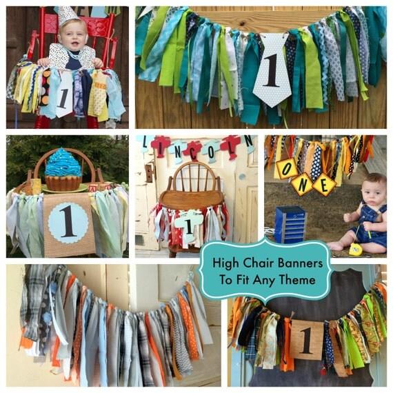 Boys High Chair Banner. Custom Made Boys First Birthday High