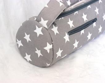 Yoga mat bag with zipper closure - handmade yoga bag - zipper pocket - yoga mat carrier - yoga tote -  gray grey white star MADE to ORDER