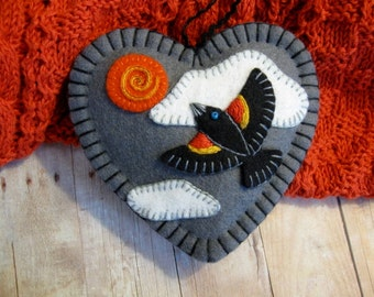 Red-Winged Blackbird Ornament - Ready to Ship Embroidered Fiber Art