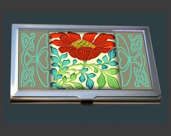 Business Card Case - featuring an Art Nouveau Tile (Pilkington Tile)