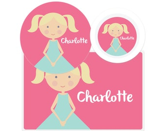 Personalized Kids Plate - 'Mini Me'-Girls' Plate-Kids Bowl-Personalized Placemat-Personalized Dinnerware Set-Personalized Mealtime Set