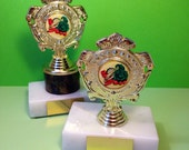 Two Vintage Trophies  Vegetable Trophies  Best In Show  Vegetables