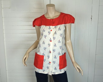 Bicycle Print Smock Top- 1970s / 70s- Off White, Red, Navy Blue- Medium