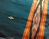 Teal Ikat Sari Fabric By The Yard, Remnant Indian Cotton Fabric, Hand Woven Handloom Saree Fabric, Designer Indian Fabrics, Blue Green Sari