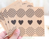36 Round Kraft Dots Heart Stripes Stickers - FREE SHIPPING with other purchase - Kraft seals