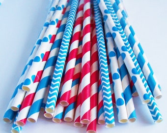 25 Red and Blue Paper Straw Mix with DIY Flag Topper