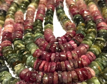 Watermelon tourmaline heishi rondells whole or half strand
