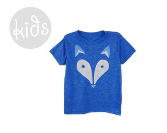 Geo Arctic Fox Tee - Crew Neck Short Sleeve Cotton Graphic Tshirt in Heather Royal Blue - Baby Kids & Youth