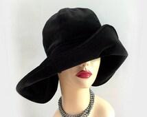 Winter Floppy Brim Hat, Black Winter Cloche, Romantic Women's Hat, Winter Wedding Hat, Big Brim Cloche, Black Velour Cloche, Handmade in USA