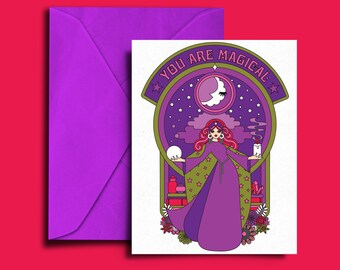 You Are Magical - Moon Goddess Witch C6 Card All Occasion