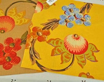 4 Eco Linen Placemats Yellow Beige Flowers Upcycled Fabrics