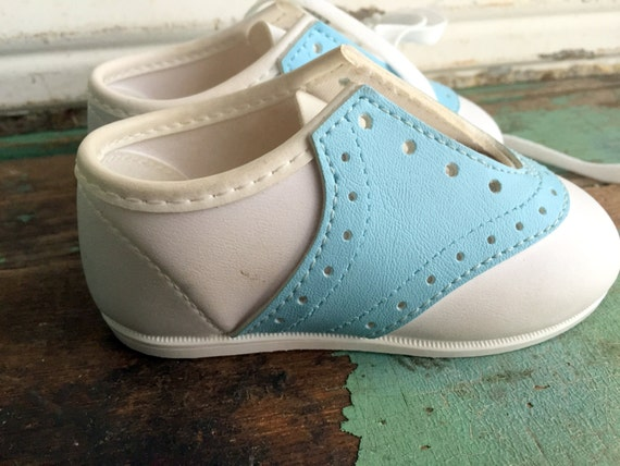 vintage pastel blue and white saddle shoes baby by