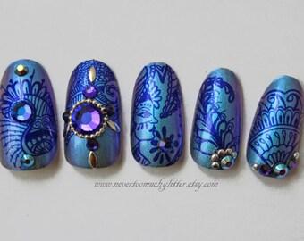 Rajasthan Dreams Blue Duochrome, India, Wedding, Press On Nails- Indian Wedding Fake/False Press On Nails, India, 3D Nail, Acrylic Nail,
