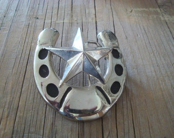 Vintage Lucky Horseshoe with Star Western Belt Buckle Silver Metal