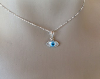 Evil eye necklace - mother of pearl - 925 sterling silver - protection - Greek jewelry