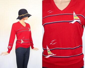 Vintage Novelty Print Sweater / 70s Knit Shirt / 1970s Embroidered Top / Nautical Sailor / Seagulls & Sailboats / Ocean / Small / Medium