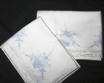 Pair of Stamped Pillow Cases to Embroider, Cross Stitch Baskets Full of Trailing Flowers
