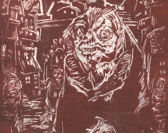Blood Red Mayor of Innsmouth, a German Expressionist Lovecraftian Monoprint