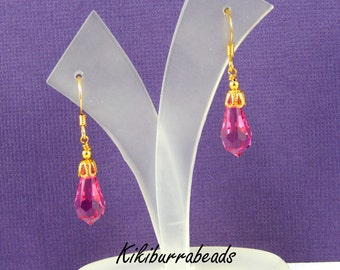 Crystal Earrings - Swarovski Crystal Gold Earrings Pink Crystal Earrings