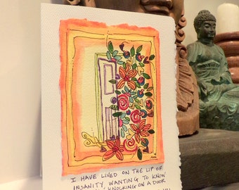 """Rumi  It Opens """"Big Card"""" 5x7  With Matching Envelope Blank On The InsideWatercolor Original betrueoriginals"""