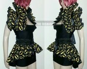 Two in one set Cosplay Batman Bodycon dress Bustle corset skirt and dramatic collar shoulder shrug