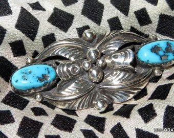 Native American Sterling Silver Blue Turquoise Brooch Pin Feather