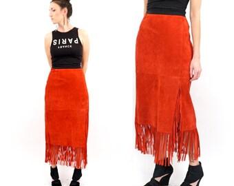 vintage RED suede FRINGE midi skirt L