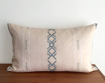 "Blue Diamond, Modern Bohemian, 16""x26"" Lumbar Pillow Cover"