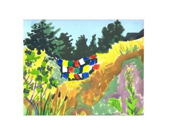 Teresa's prayer flags- original watercolor painting