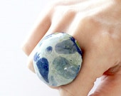 Ceramic Ring, Marble Ring - big ring, fashion ring, oversized ring, statement ring, handmade ring by Studioleanne, cocktail ring