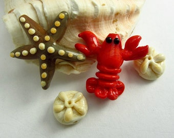 Lobster, Starfish, and Sand Dollar Glass Beads - Sea Life Lampwork SRA