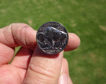 Western Sterling Silver Banded Buffalo Nickel Ring - Size 7 1/2 - BUFFALO SIDE UP