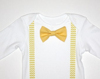 Yellow and White Chevron Baby Boy Bow Tie Onesie Free Shipping
