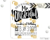 Mr. ONEderful Invitation | Digital or Printed | Gold Glitter Invitation | Mr. Wonderful Invitation |  Onederful Invite | Little Man Bow Tie