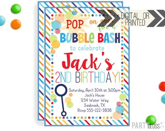 Boy Bubble Party Invitation | Digital or Printed | Bubbles Invitation | Bubble Party | Bubbles Birthday Party | Bubble Invitations |