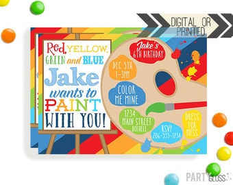Art Party Birthday Invitation | Digital or Printed | Boy Art Invitation | Painting Invitation |  Painting Party Invite | Art Theme For Boys