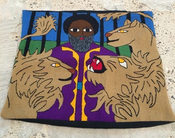 """Bible Story Pillow13 - Daniel and The Lion's Den - Colorful Crewel or Weaving Pillow - Old Testament - Bible Theme - Kids Room - 15""""x 13"""""""