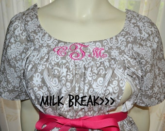 Maternity Hospital Gown with option to add Milk Breaks and Monogram/gray damask
