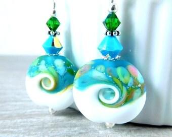 Ocean Wave Dangle Earrings, Colorful Beach Earrings, Blue Green Pink White Etched Glass Earrings Beach Jewelry Lampwork Sea Nautical Water